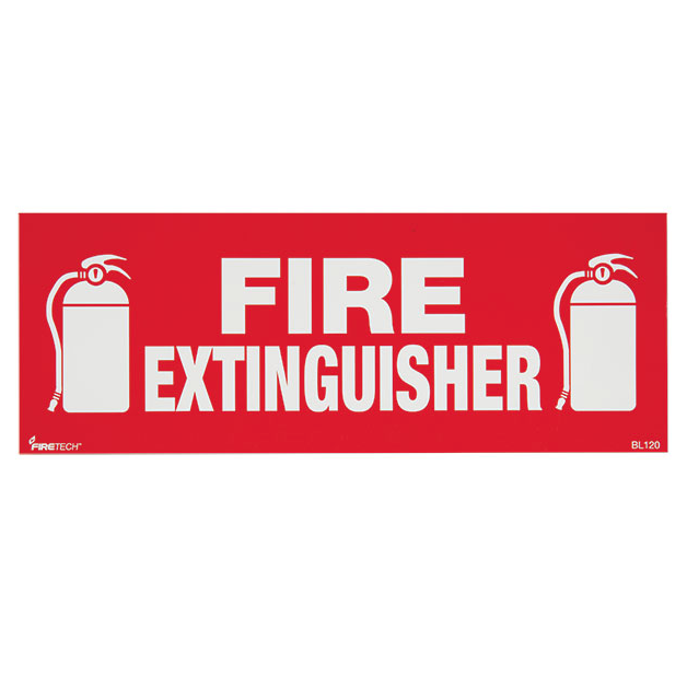 "Fire Extinguisher Sign - Vinyl - 12"" x 4.5"" - S114"
