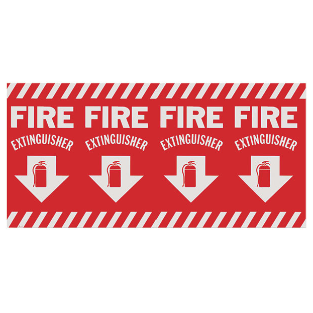 "Fire Extinguisher Wraparound Arrow Sign - Vinyl - 24.5"" x 12.5"" - S115"