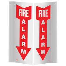"Fire Alarm Down Arrow Sign, 3-D Rigid Plastic, PTD156,  Vinyl, 4"" x 12"""