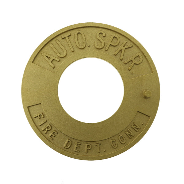 "Fire Dept. Conn. Auto. Spkr. Sign - Brass - Round - 2 1/2"" - W355"