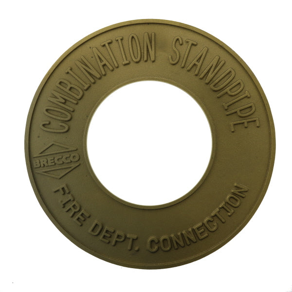 "Fire Dept. Connection Combination Standpipe Sign - Brass - 4"" IPS - W360"