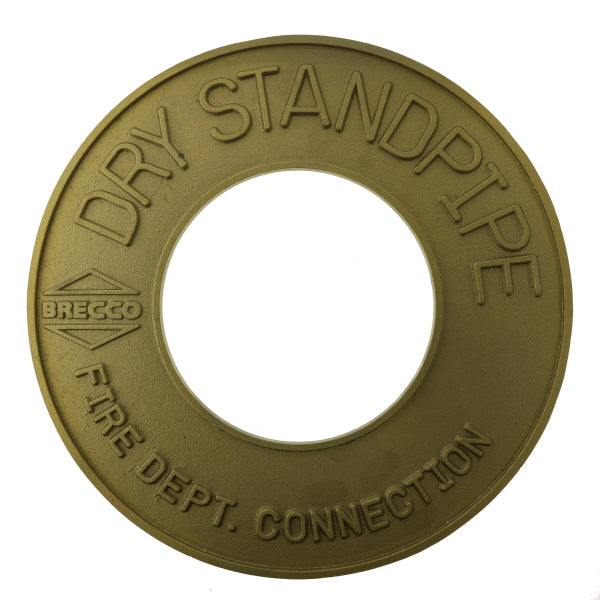 "Fire Dept. Connection Dry Standpipe Sign - Brass - 4"" IPS - W361"