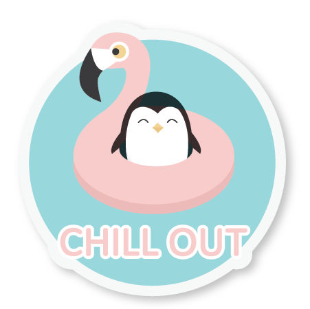 Penguin/Flamingo Sticker