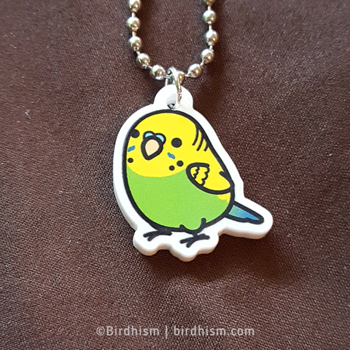 Chubby Green Budgie Necklace