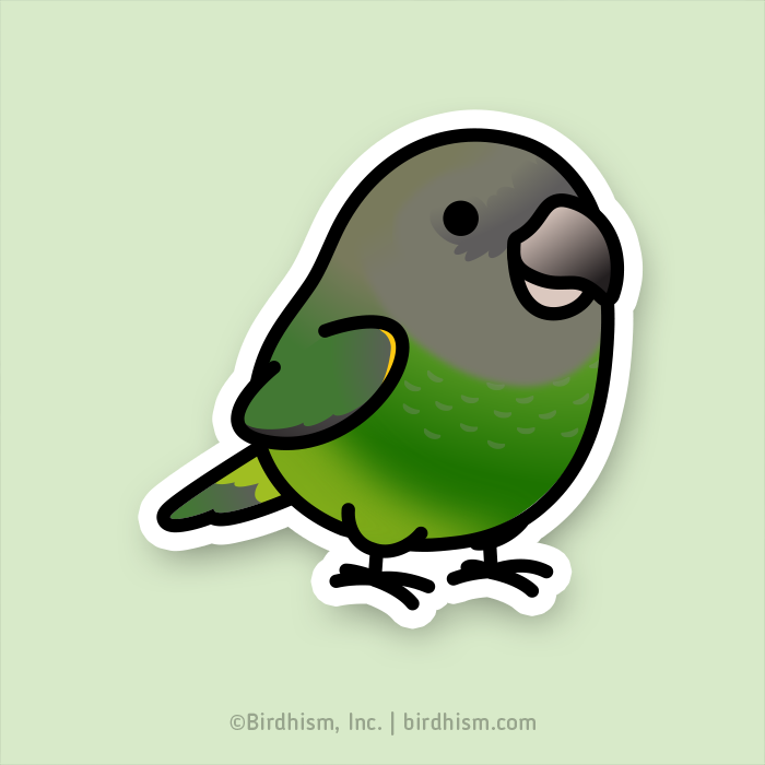 Chubby Brown-headed Parrot Stickers