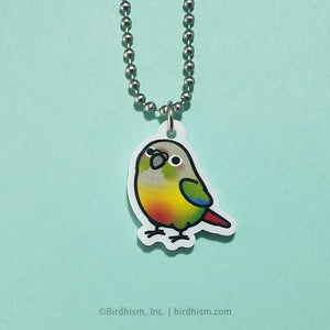 Chubby Pineapple Green Cheek Conure Necklace