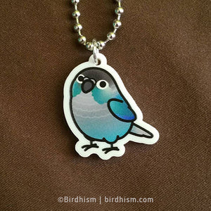 Chubby Turquoise Green Cheek Conure Necklace
