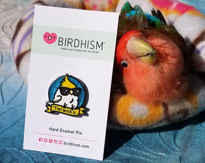 "Chubby Bird Hard Enamel Pins ""Be Kind"" Cody the Lovebird and ""'Tiel with it."" Glitter Scootaloo the Cockatiel"