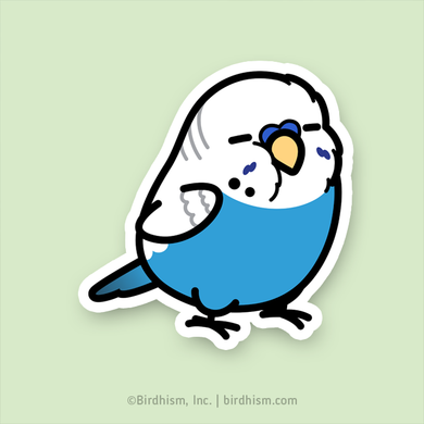 BACK ORDERED: Chubby Blue English Budgie Stickers