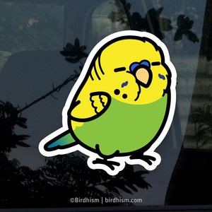 Chubby Green English Budgie Stickers