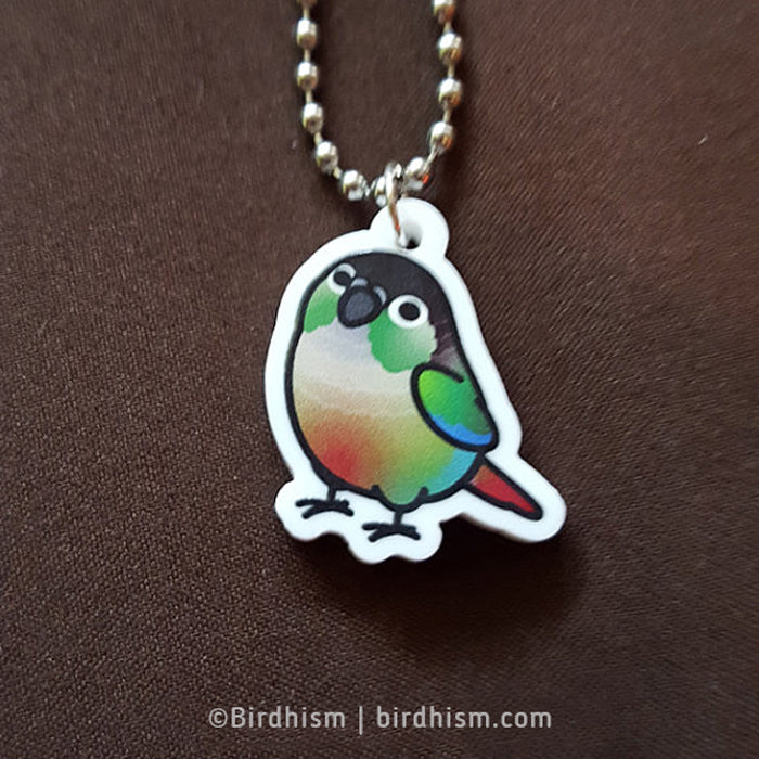 BACK ORDERED: Chubby Green Cheek Conure Necklace