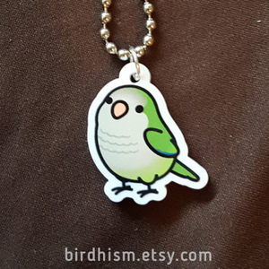 Chubby Green Quaker Parrot Necklace