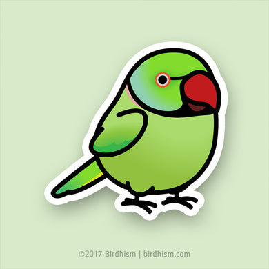 Chubby Green Indian Ringneck Parakeet Stickers