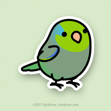Chubby Green Parrotlet Stickers