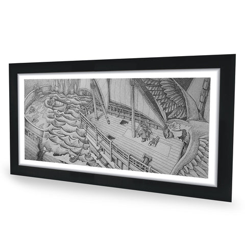 Pirate Ship Original Graphite Drawing