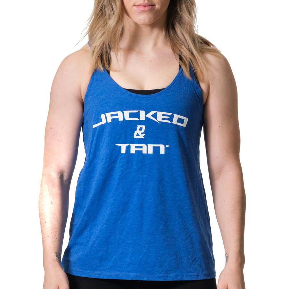 Women's Jacked and Tan Flowy Tank Blue - Image 01