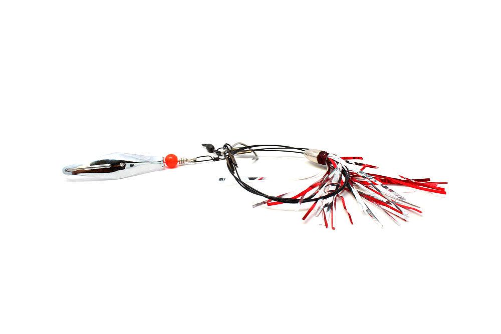Clark Mackerel Duster Rig, Red/Silver Duster