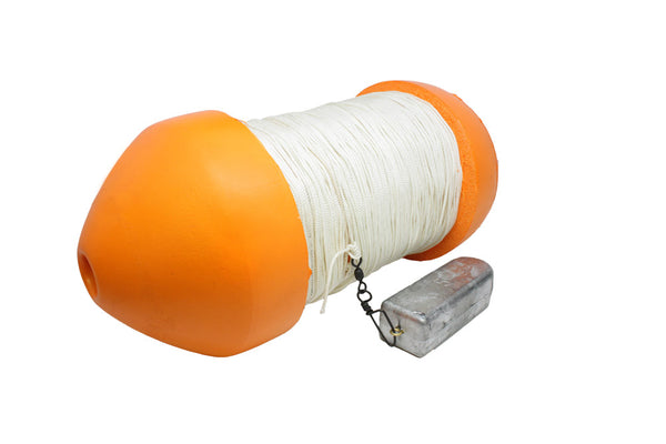 "J&M Tackle Marker Buoy 6""x14"" Orange Rigged-5lb lead/100' rope"