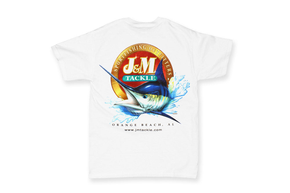 J&M Tackle Logo T-Shirt - Full Color Logo on White Short Sleeve