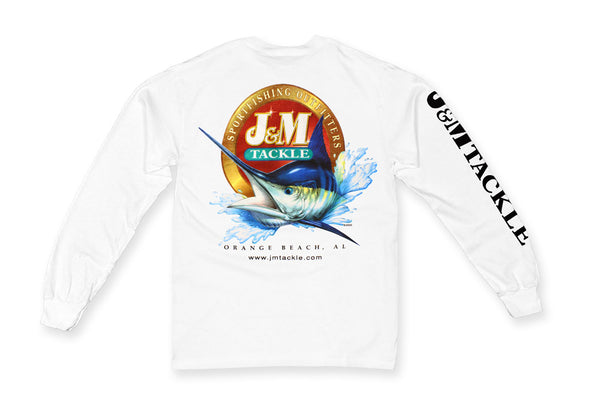 J&M Tackle Logo T-Shirt - Full Color Logo on White Long Sleeve