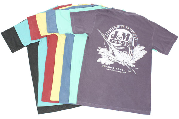 J & M Tackle Logo Pigment-Dyed SS T w/Pocket