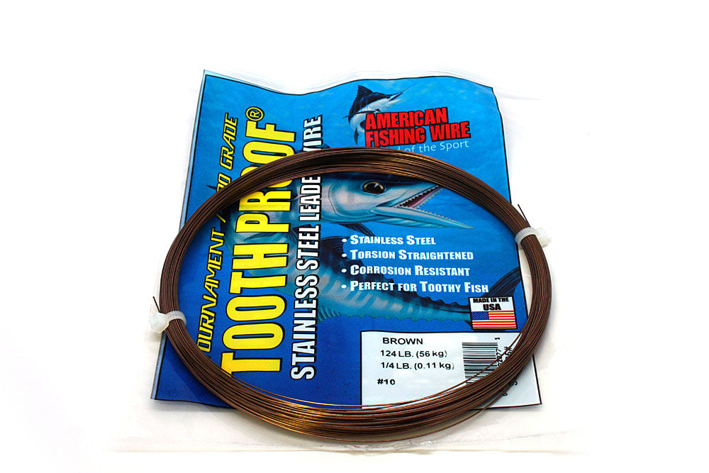 American Fishing Wire #10 Tooth-Proof Single Strand 1/4# Coil 124#Test