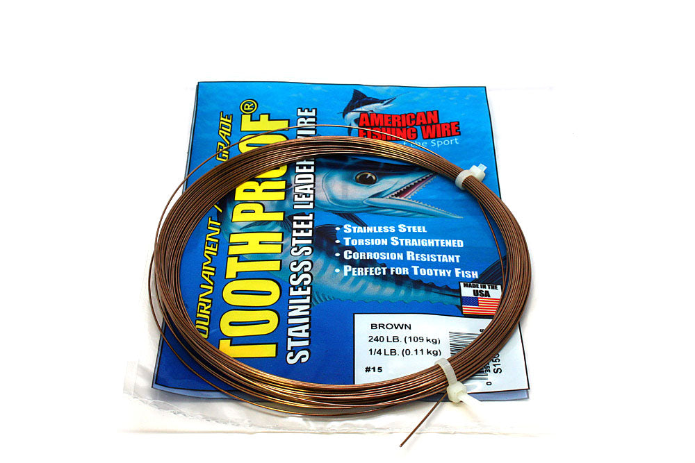 American Fishing Wire #15 Tooth-Proof Single Strand 1/4# Coil 240#Test