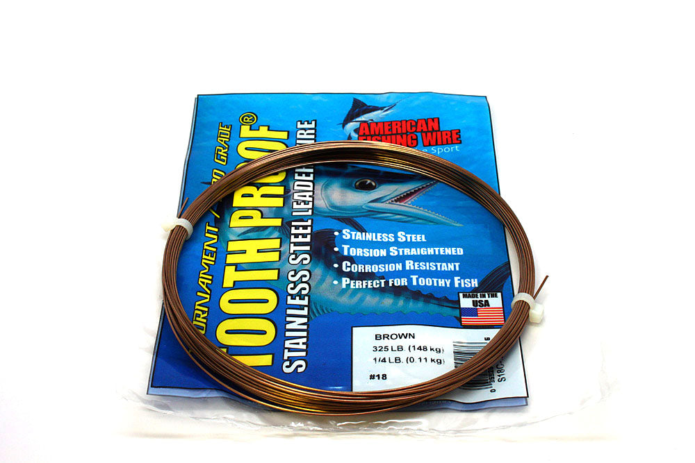 American Fishing Wire #18 Tooth-Proof Single Strand 1/4# Coil 325#Test
