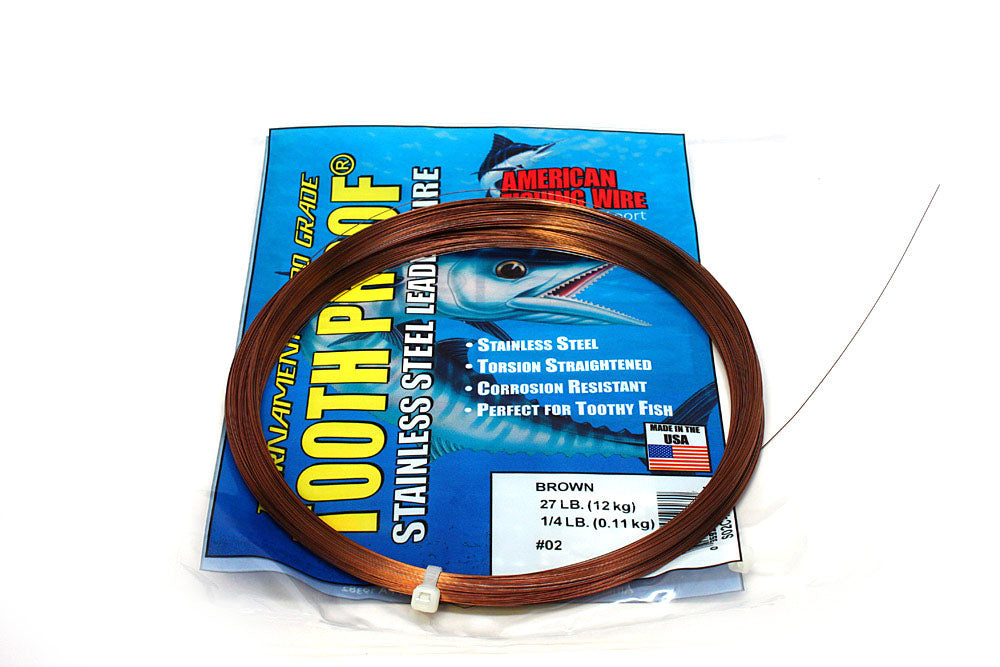 American Fishing Wire #2 ToothProof Single Strand 27# Brown 1/4#