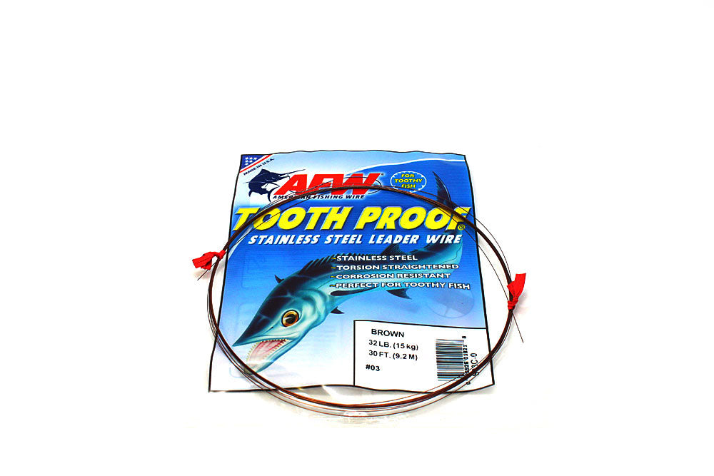 American Fishing Wire #3 ToothProof Single Strand 32# Brown 30'