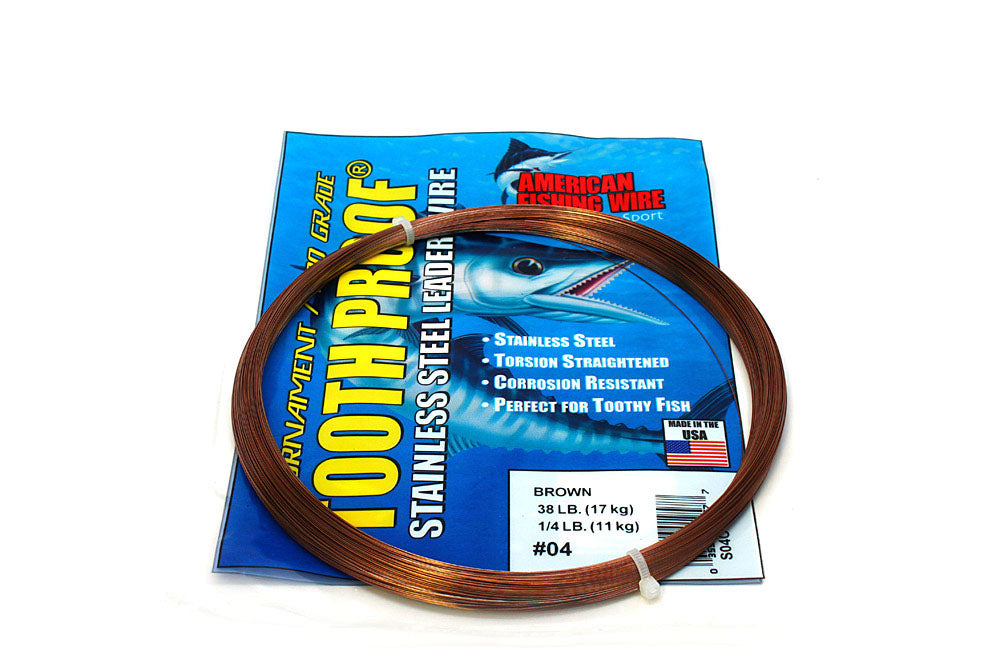 American Fishing Wire #4 ToothProof Single Strand 38# Brown 1/4#