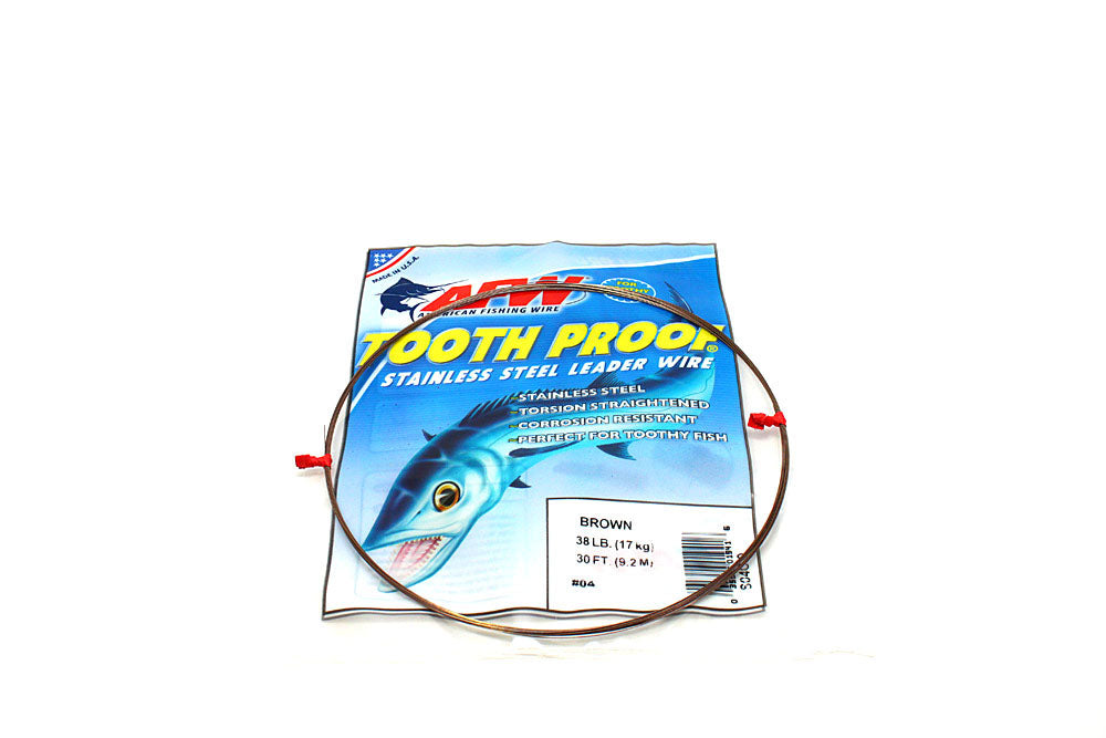 American Fishing Wire #4 ToothProof Single Strand 38# Brown 30'