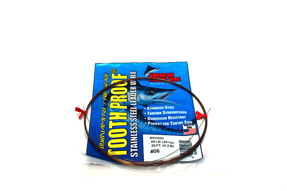 American Fishing Wire #6 ToothProof Single Strand 58# Brown 30'