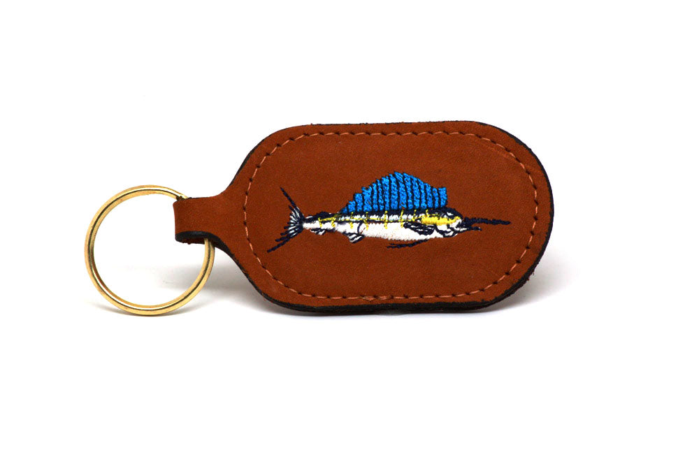 Zep Pro Key Chain Embroidered Sailfish LTHR