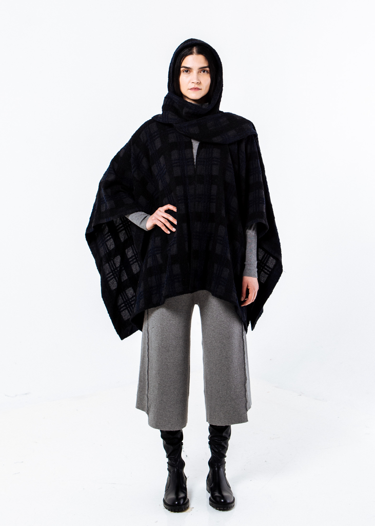 Cashmere Hooded Cape with Scarf