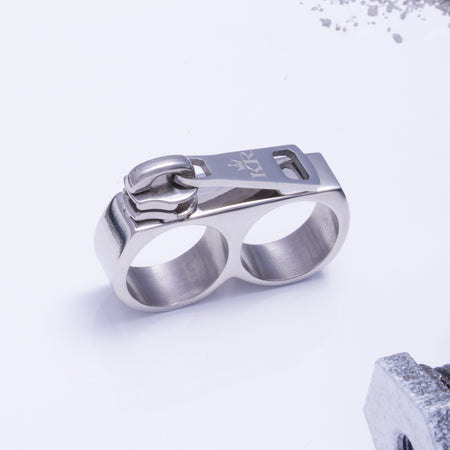 Zip It Double Ring Silver