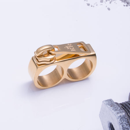 Zip It Double Ring Gold