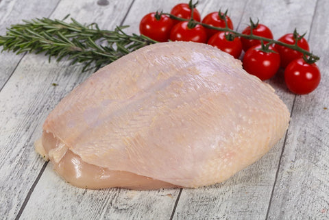 Bone-in, Skin-on, Soy-free, Corn-free chicken breast pasture raised non-gmo humanely harvested
