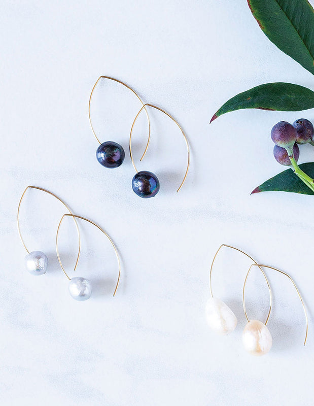FLOATING PEARL EARRINGS - HENRI LOU DESIGNS