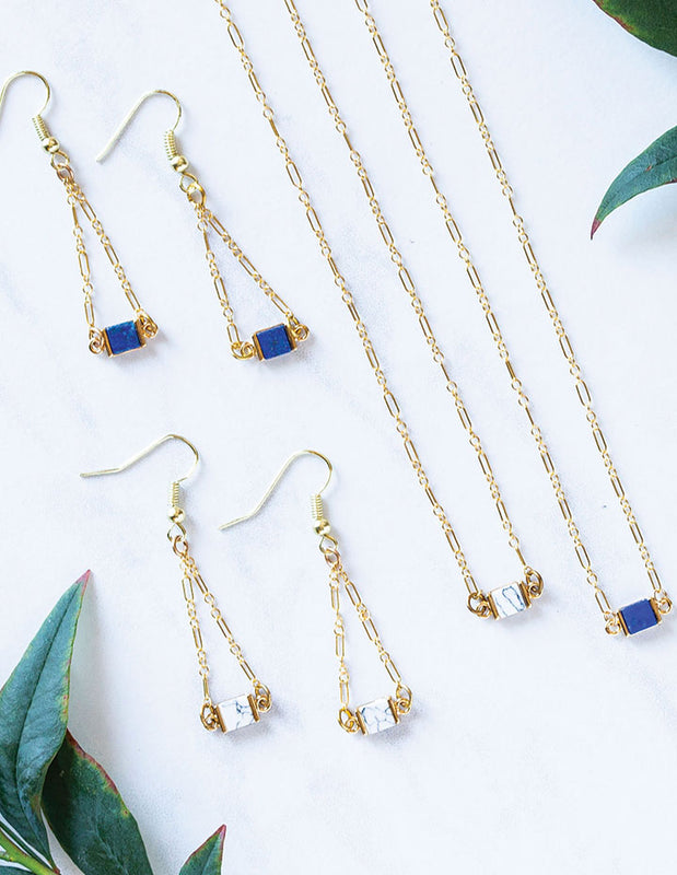 HL LAPIS EARRINGS - HENRI LOU DESIGNS