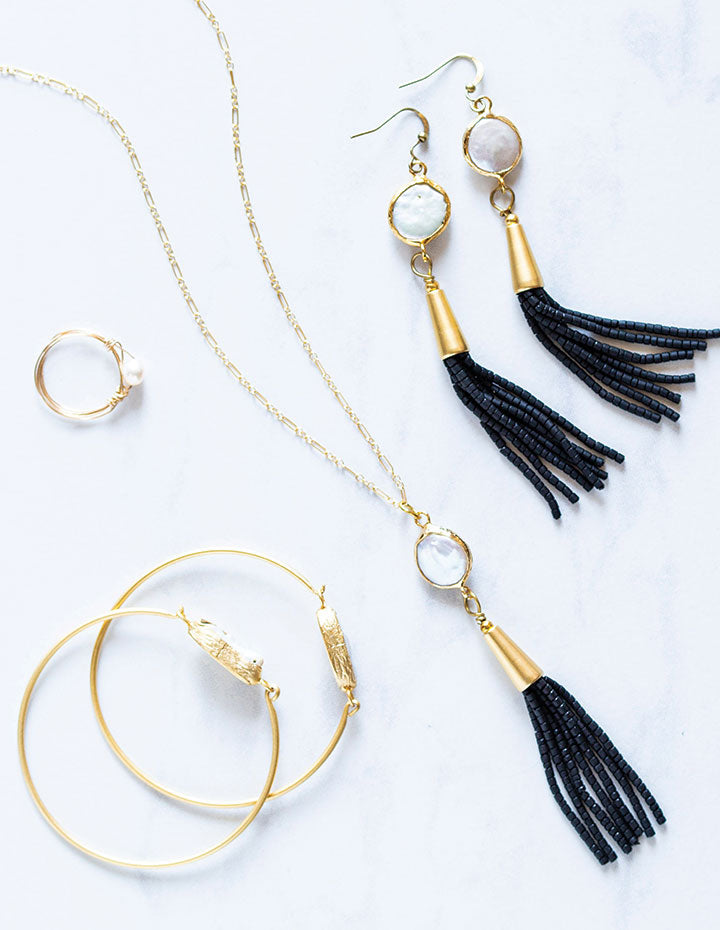 HL PEARL TASSEL EARRINGS - HENRI LOU DESIGNS