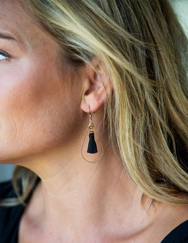 HL TEARDROP TASSEL EARRINGS - HENRI LOU DESIGNS