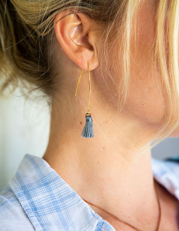 HL WISHBONE TASSEL EARRINGS - HENRI LOU DESIGNS