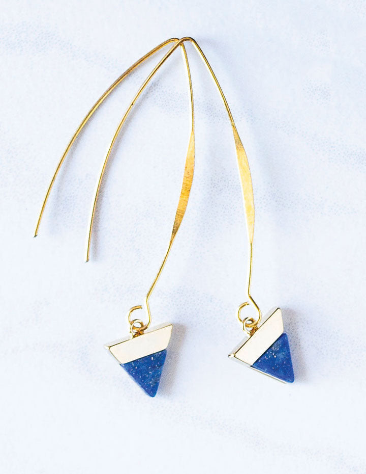 HL WISHBONE LAPIS EARRINGS