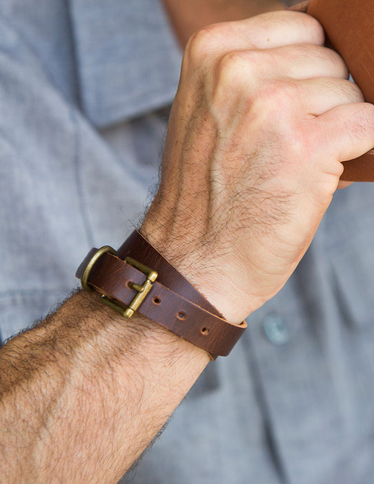 MEN'S DOUBLE BUCKLE WRAP LEATHER BRACELET - HENRI LOU DESIGNS