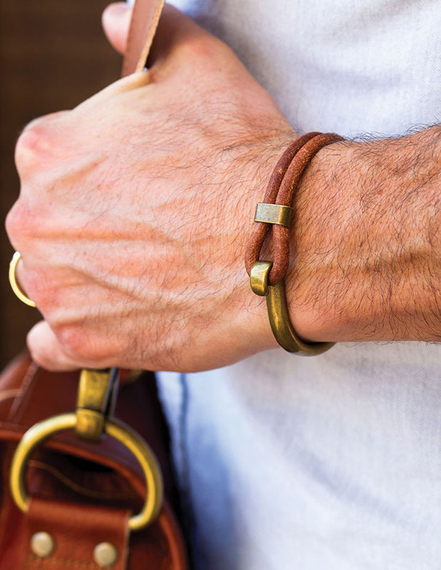 MENS HOOK IT LEATHER BRACELET - HENRI LOU DESIGNS