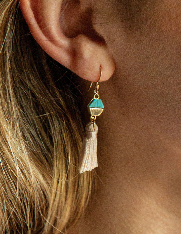 TURQUOISE & TASSEL EARRINGS - HENRI LOU DESIGNS