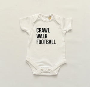 Crawl, Walk , Football Bodysuit