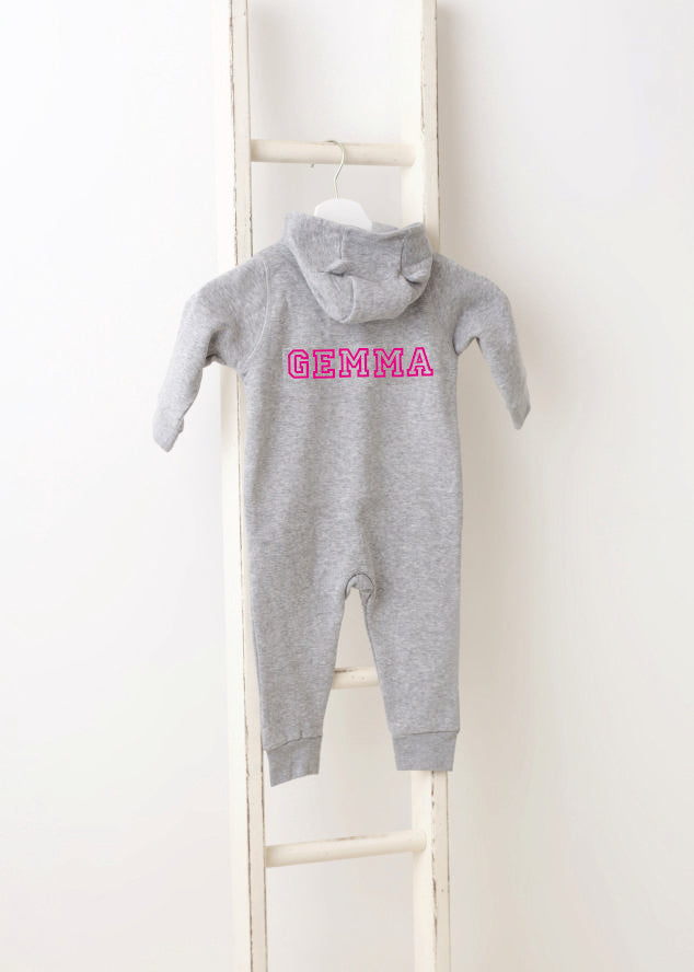 Gemma Personalised Grey All in One (ears on hood) - Pink