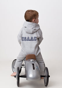 Isaac Personalised Grey All in One (ears on hood)